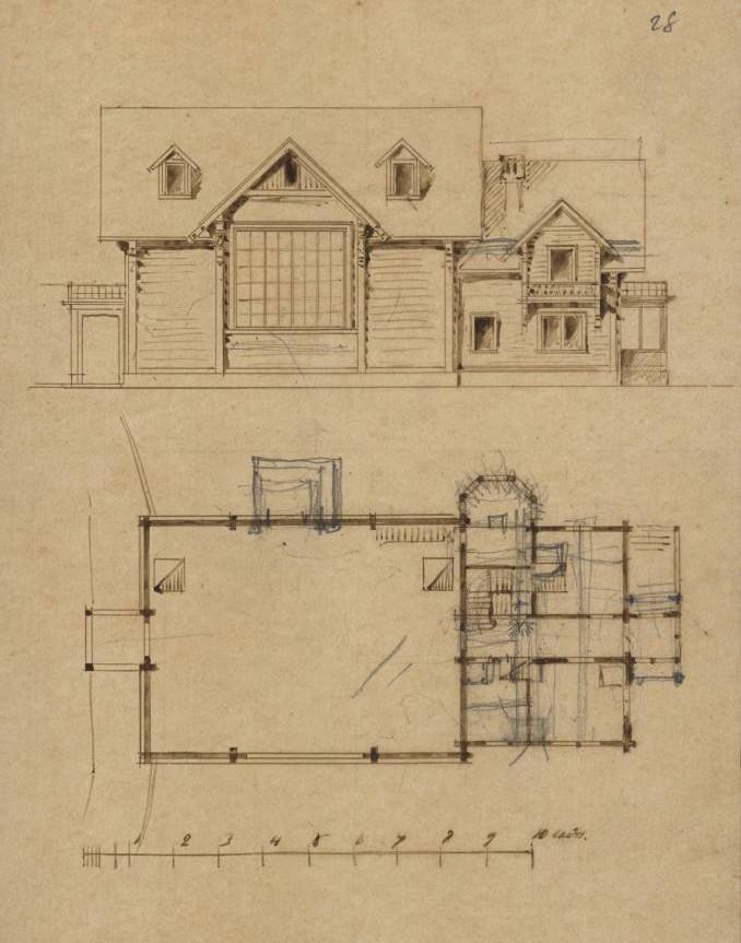 Дом-мастерская В.В. Верещагина. Северный фасад. План. Арх. Н.В. Никитин. 1889.